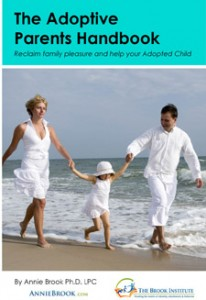 Cover image of parents with child running on beach adoptive parents handbook help with adoption family issues